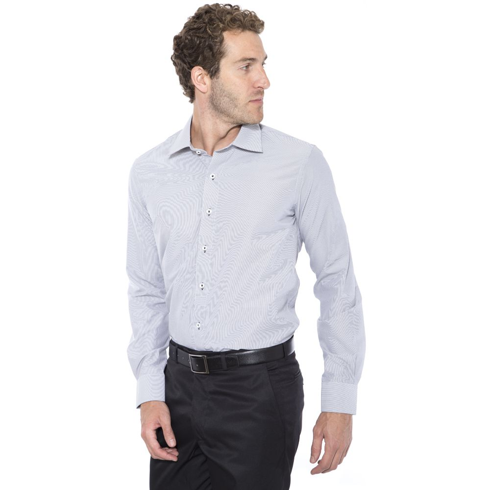 Camisa Passa Fácil Hugo Deleon Listrada Preta