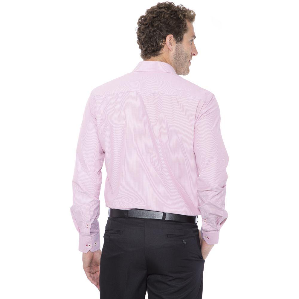 Camisa passa fácil Hugo Deleon listrada vermelha