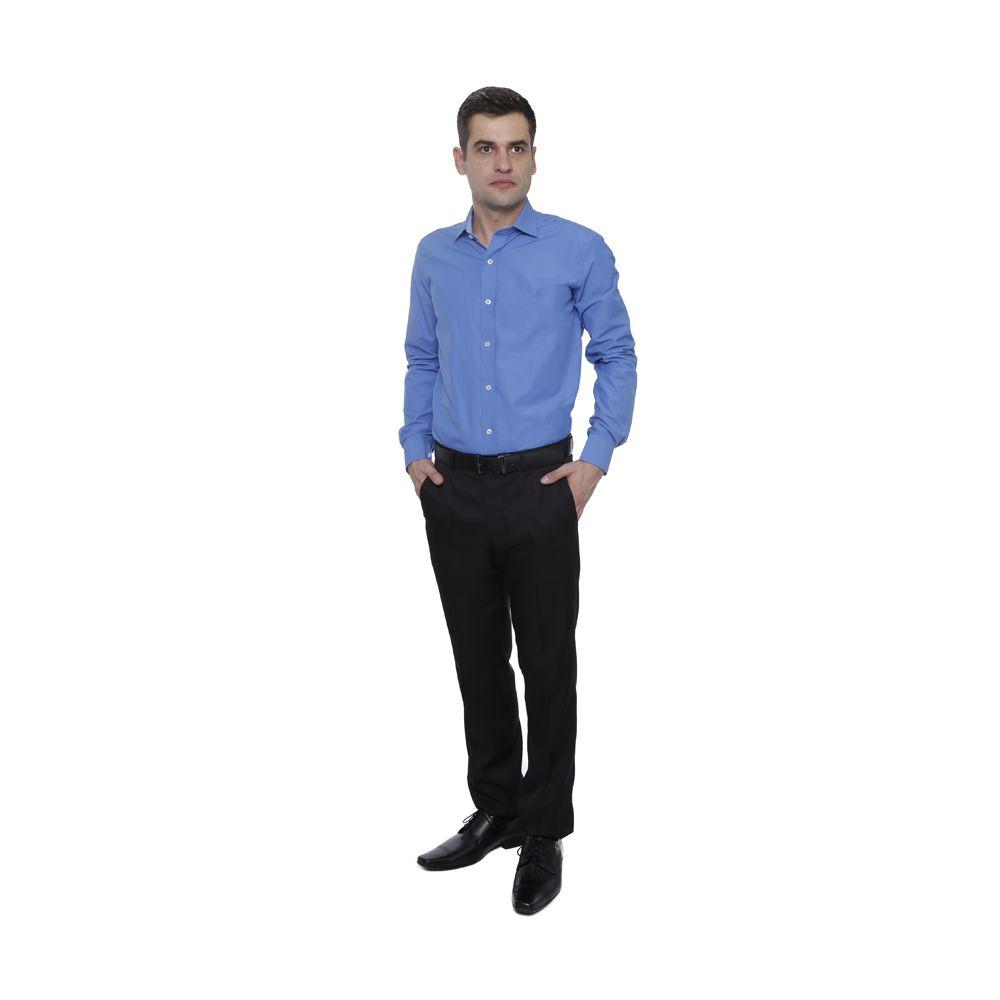 Camisa Passa Fácil Hugo Deleon Lisa Azul Royal
