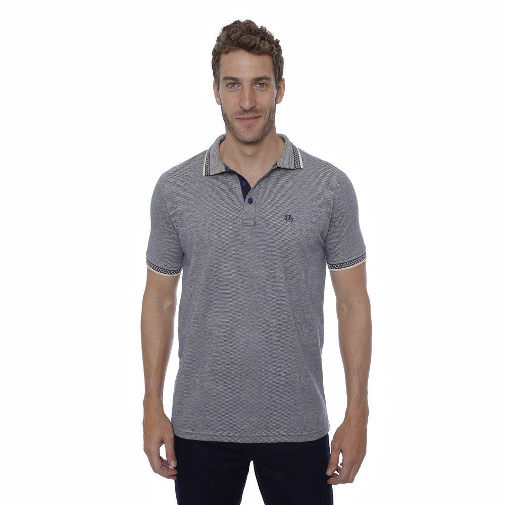 Camisa Polo Hugo Deleon algodão malha azul
