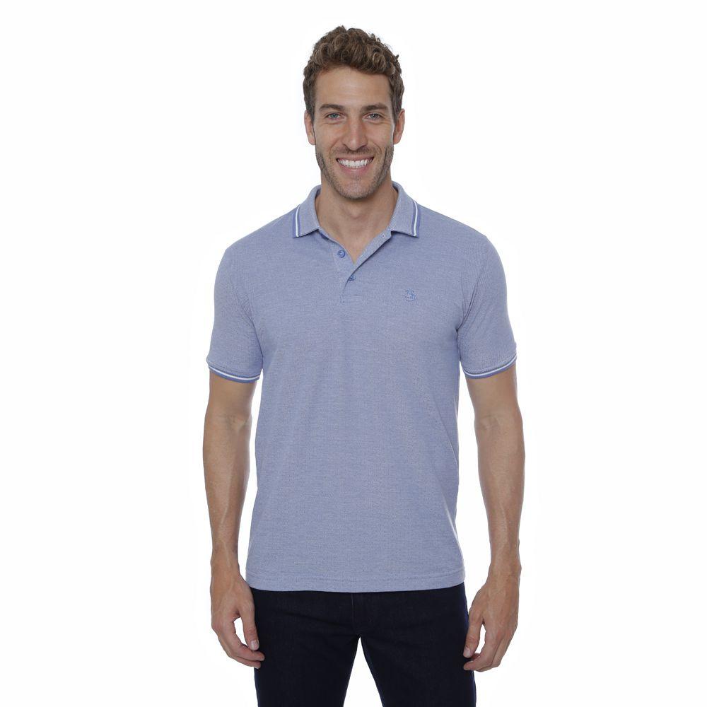 Camisa Polo Hugo Deleon algodão malha azul claro