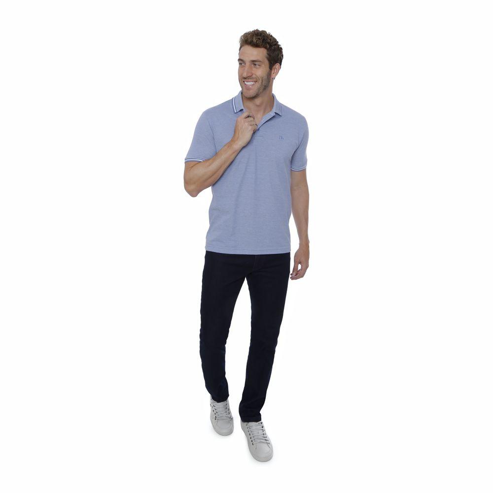 Camisa Polo Hugo Deleon Malha Premium Azul Claro