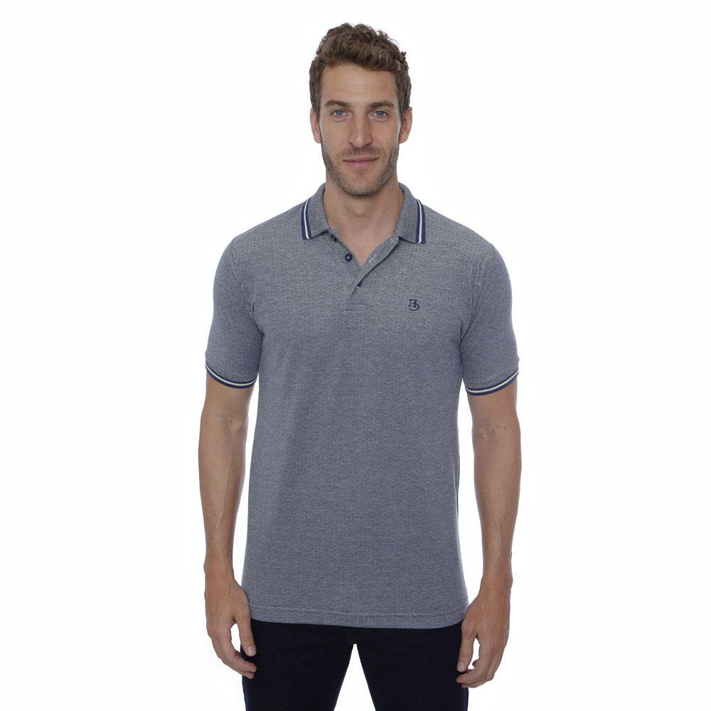 Camisa Polo Hugo Deleon algodão malha azul escuro