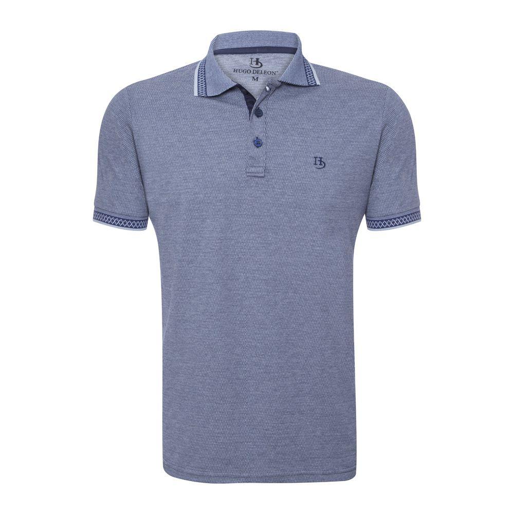 Camisa Polo Hugo Deleon algodão malha azul marinho