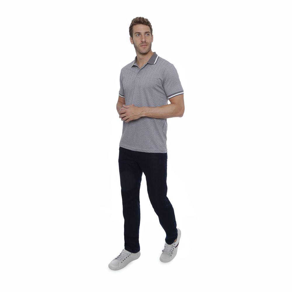Camisa Polo Hugo Deleon algodão malha cinza