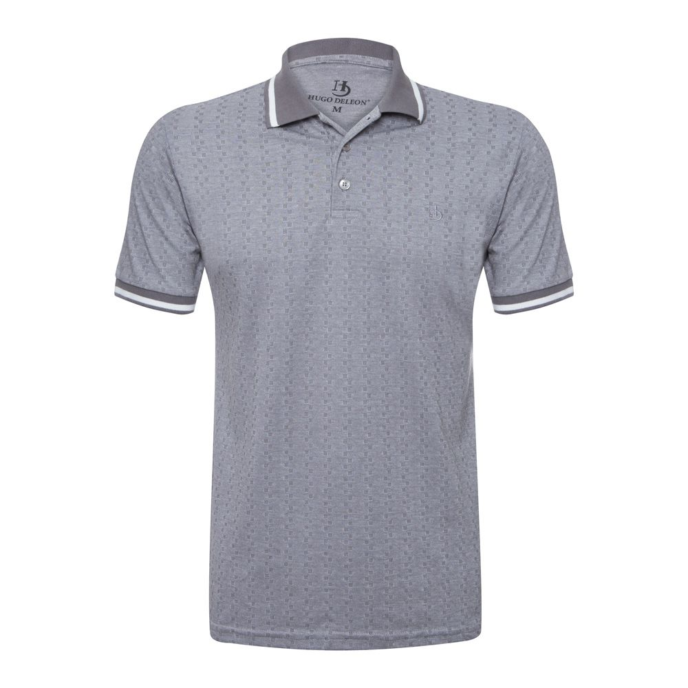 Camisa Polo Hugo Deleon Malha Premium Cinza