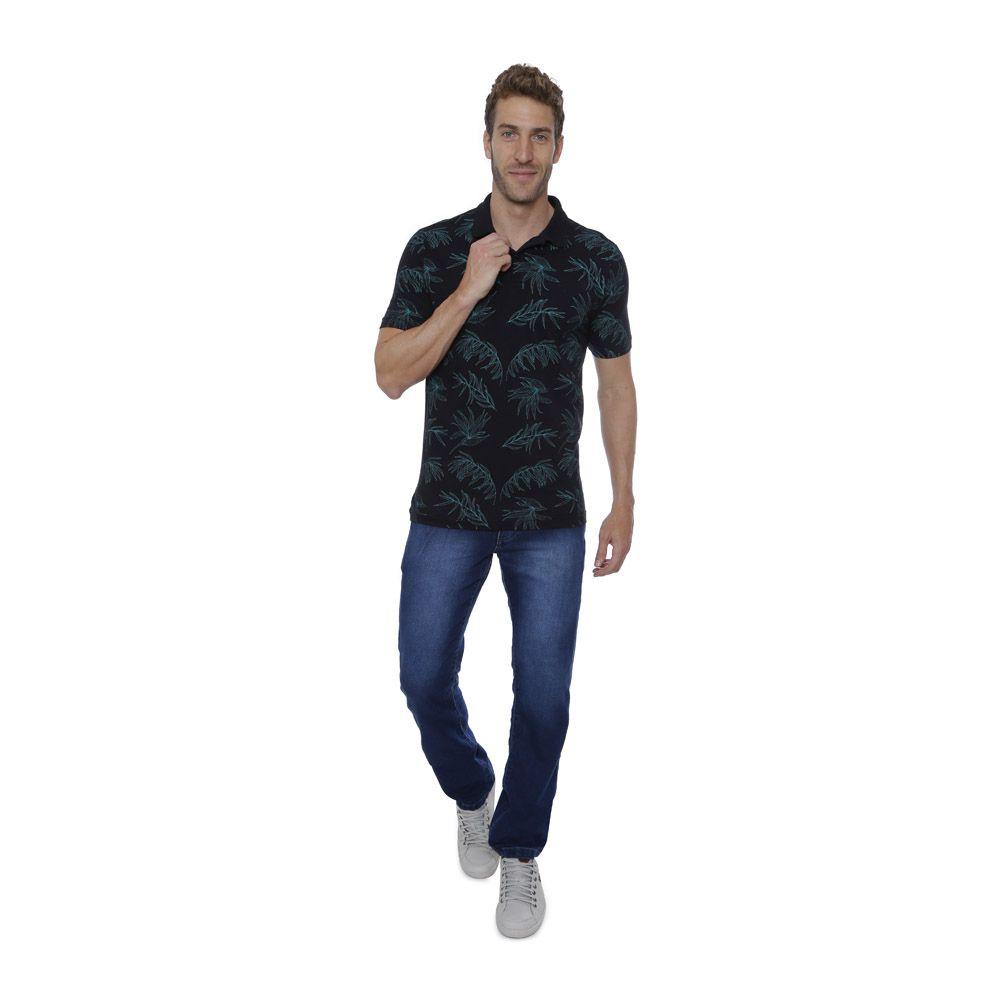 Camisa Polo Hugo Deleon Floral Preta