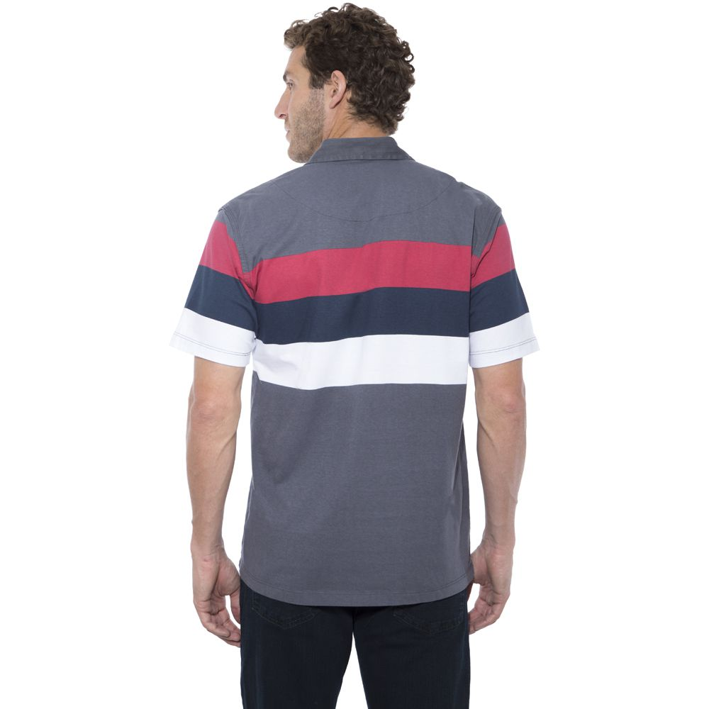 Camisa Polo Hugo Deleon algodão malha listrada grafite