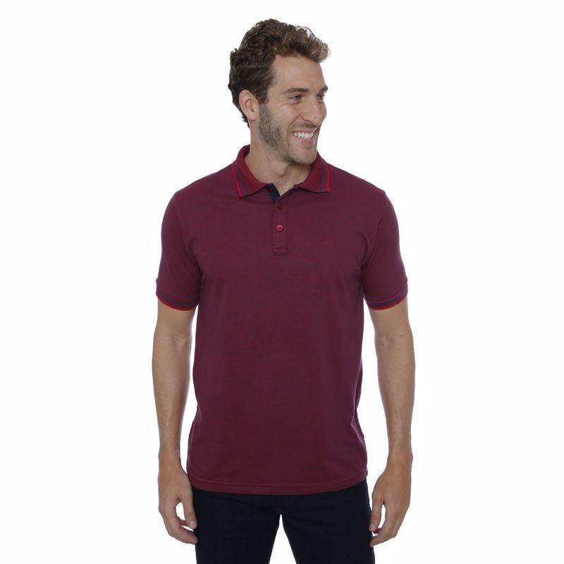 Camisa Polo Hugo Deleon algodão malha vinho