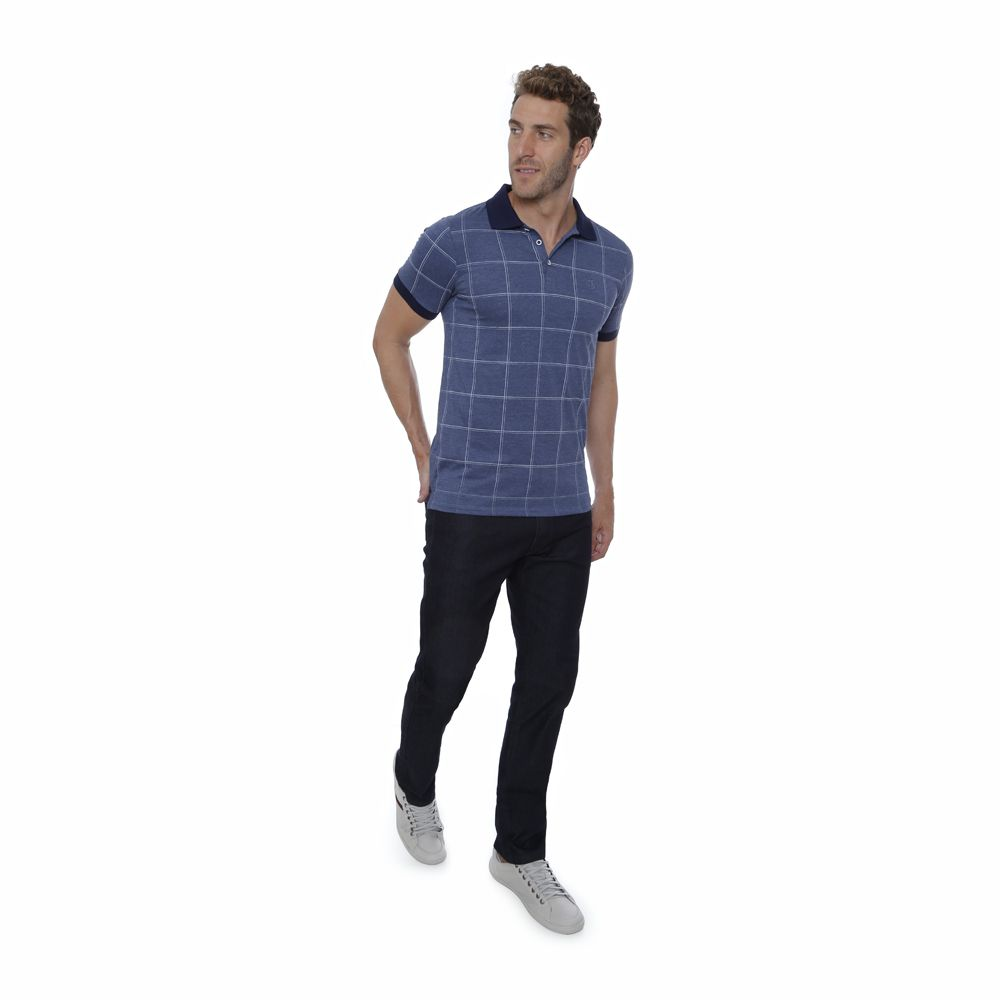 Camisa Polo Hugo Deleon Xadrez Azul
