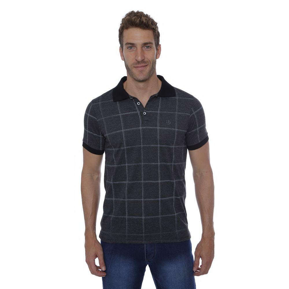 Camisa Polo Hugo Deleon Xadrez Grafite