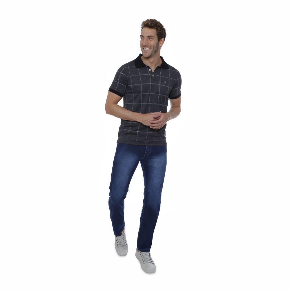 Camisa Polo Hugo Deleon Slim Xadrez Grafite