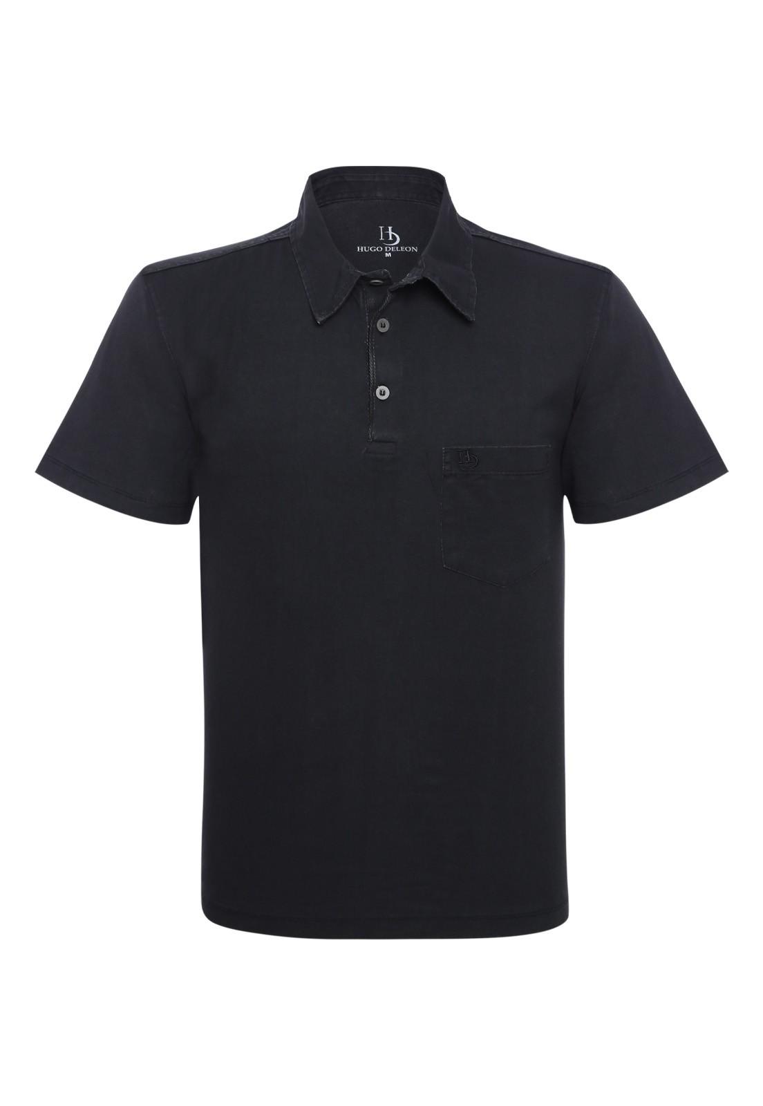 Camisa Polo Hugo Deleon Bolso Confort Sarja Preta