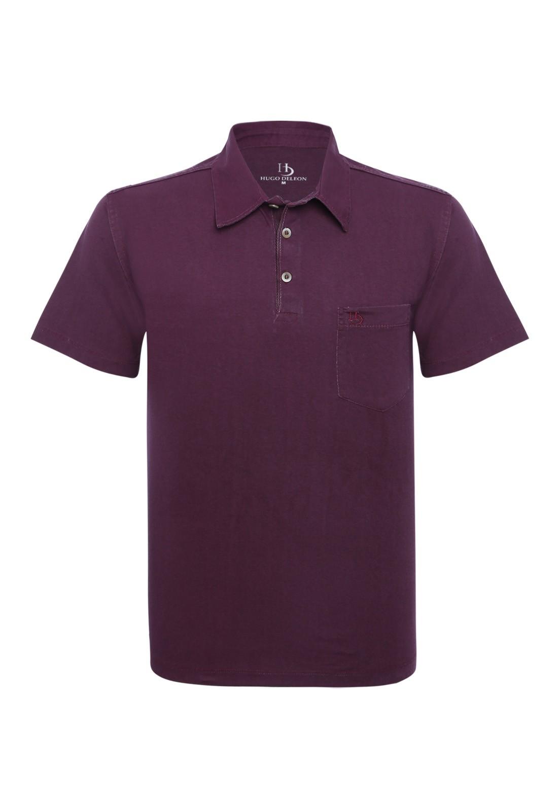 Camisa Polo Hugo Deleon Bolso Confort Sarja Vinho