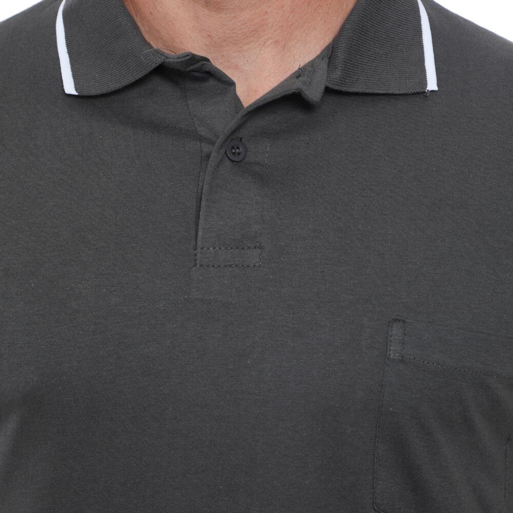 Camisa Polo Hugo Deleon Bolso Malha Grafite