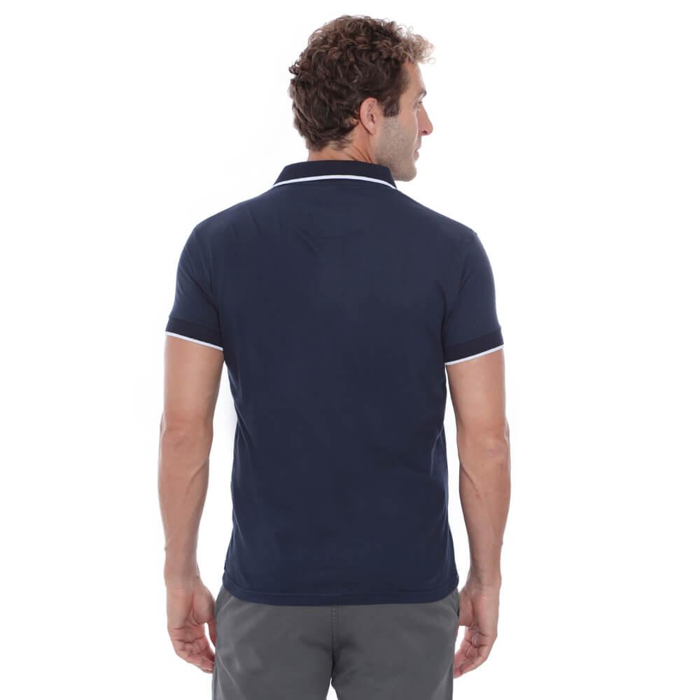 Camisa Polo Hugo Deleon Bolso Malha Marinho