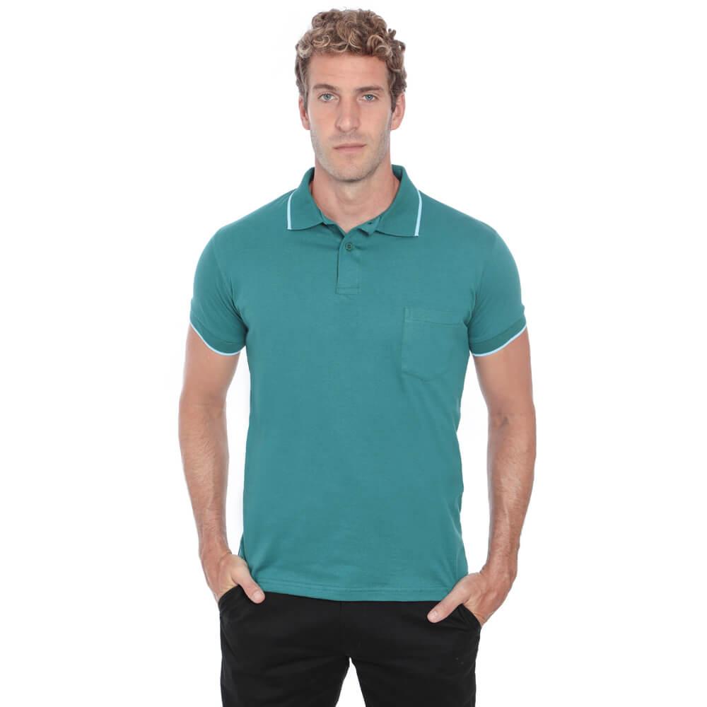 Camisa Polo Hugo Deleon Bolso Malha Verde