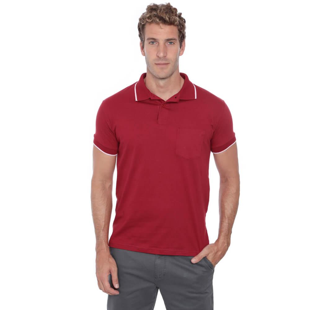 Camisa Polo Hugo Deleon Bolso Malha Vermelho