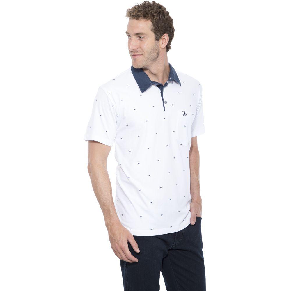 Camisa Polo Hugo Deleon Plus Estampada Branca