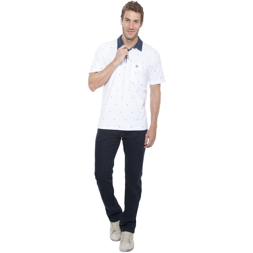 Camisa Polo Hugo Deleon estampada algodão malha branca