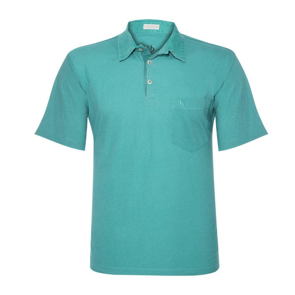 Camisa Polo Hugo Deleon Sarja Estampada Verde
