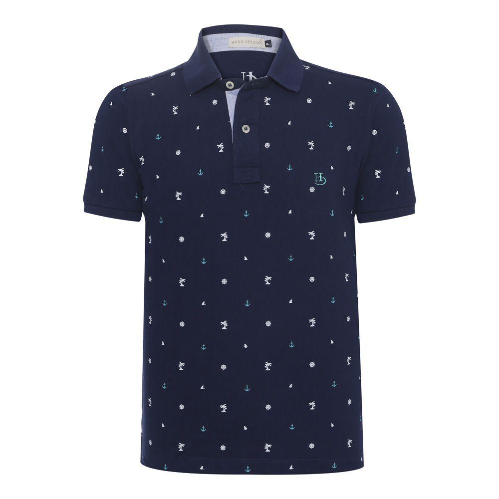 Camisa Polo Hugo Deleon estampada piquet azul marinho
