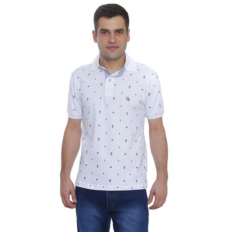 Camisa Polo Hugo Deleon estampada piquet branca