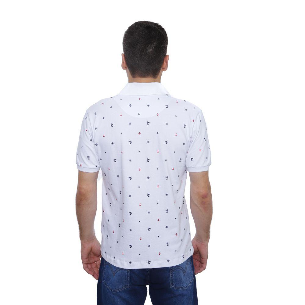 Camisa Polo Hugo Deleon Piquet Estampada Branca