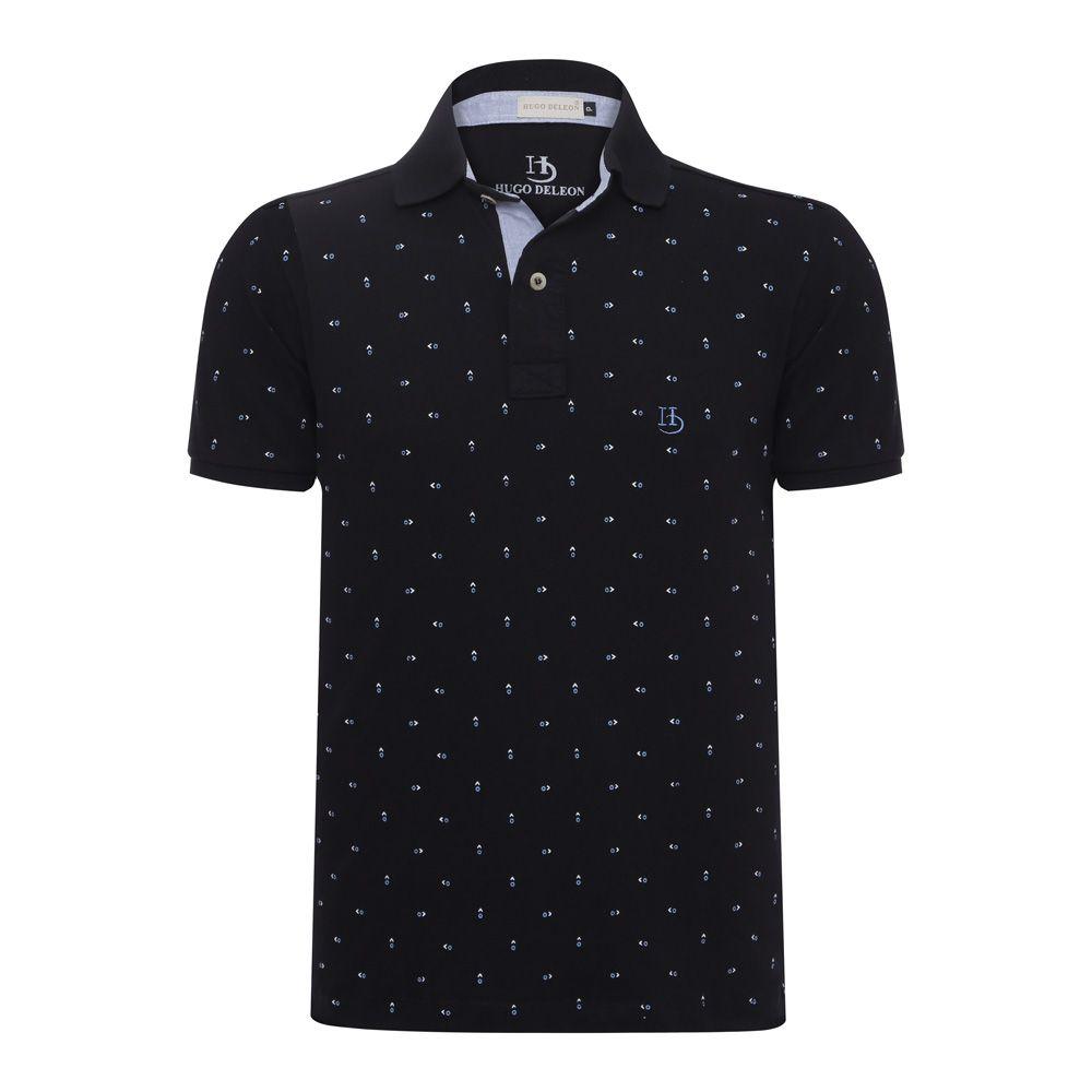 Camisa Polo Hugo Deleon estampada piquet preta