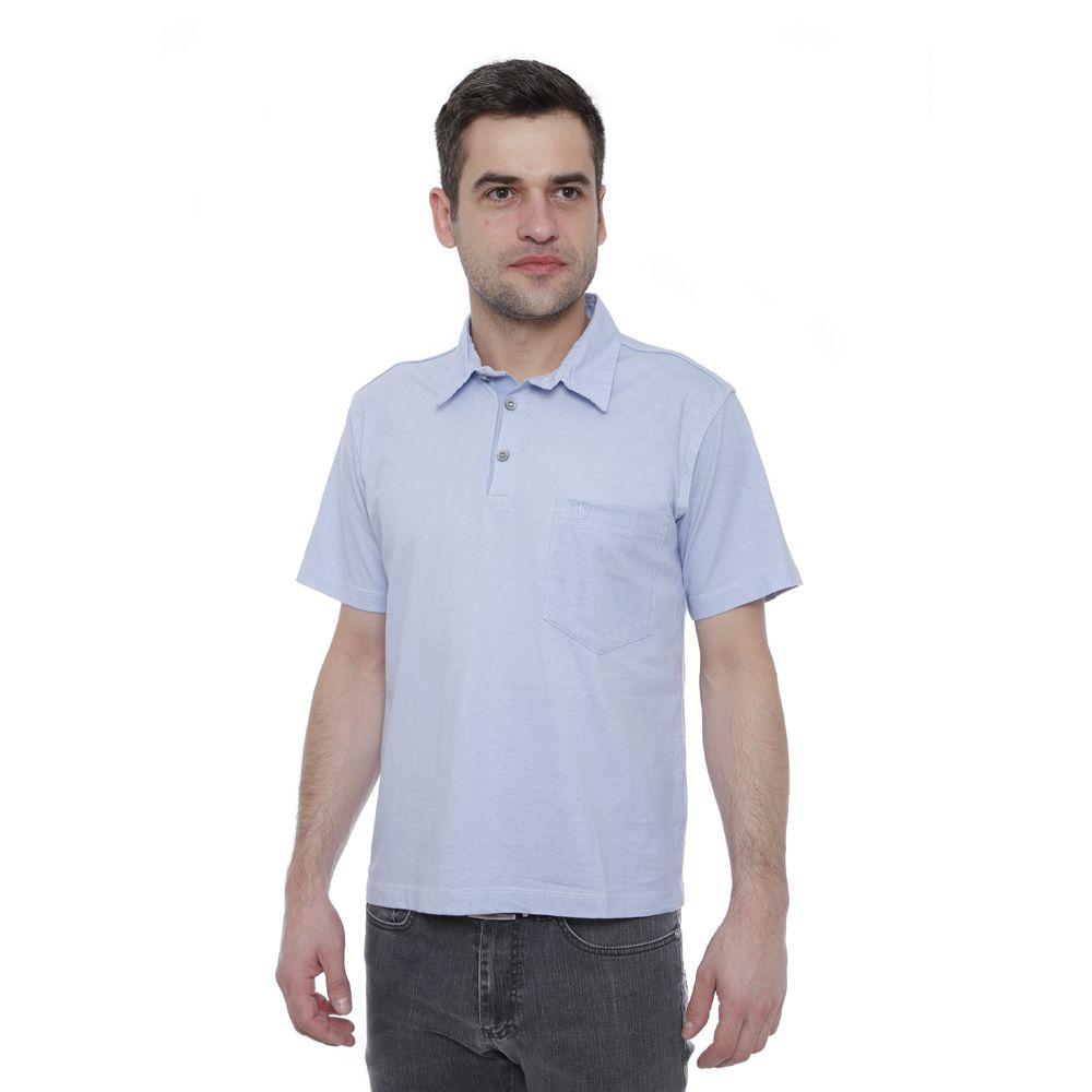 Camisa Polo Hugo Deleon lisa algodão malha azul