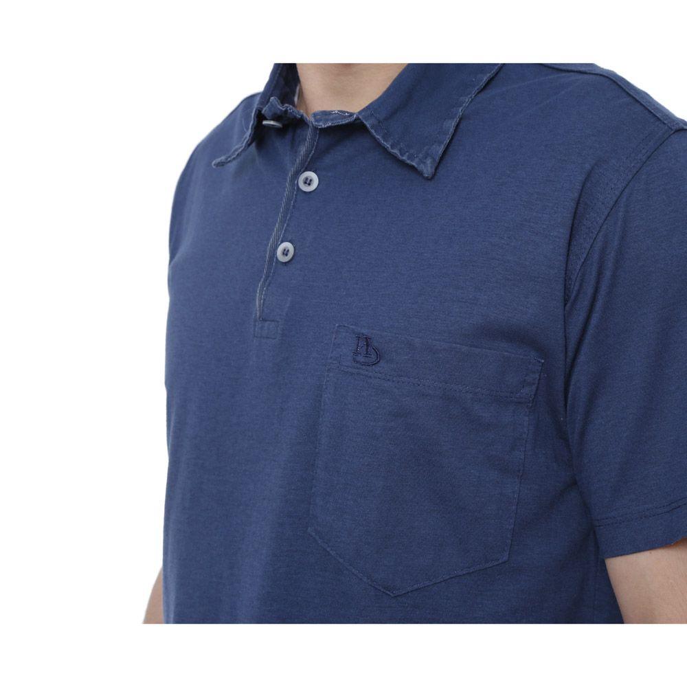 Camisa Polo Hugo Deleon lisa algodão malha azul escuro