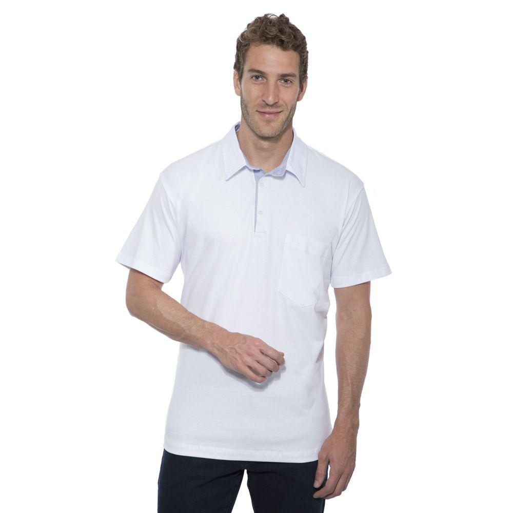 Camisa Polo Hugo Deleon lisa algodão malha branca