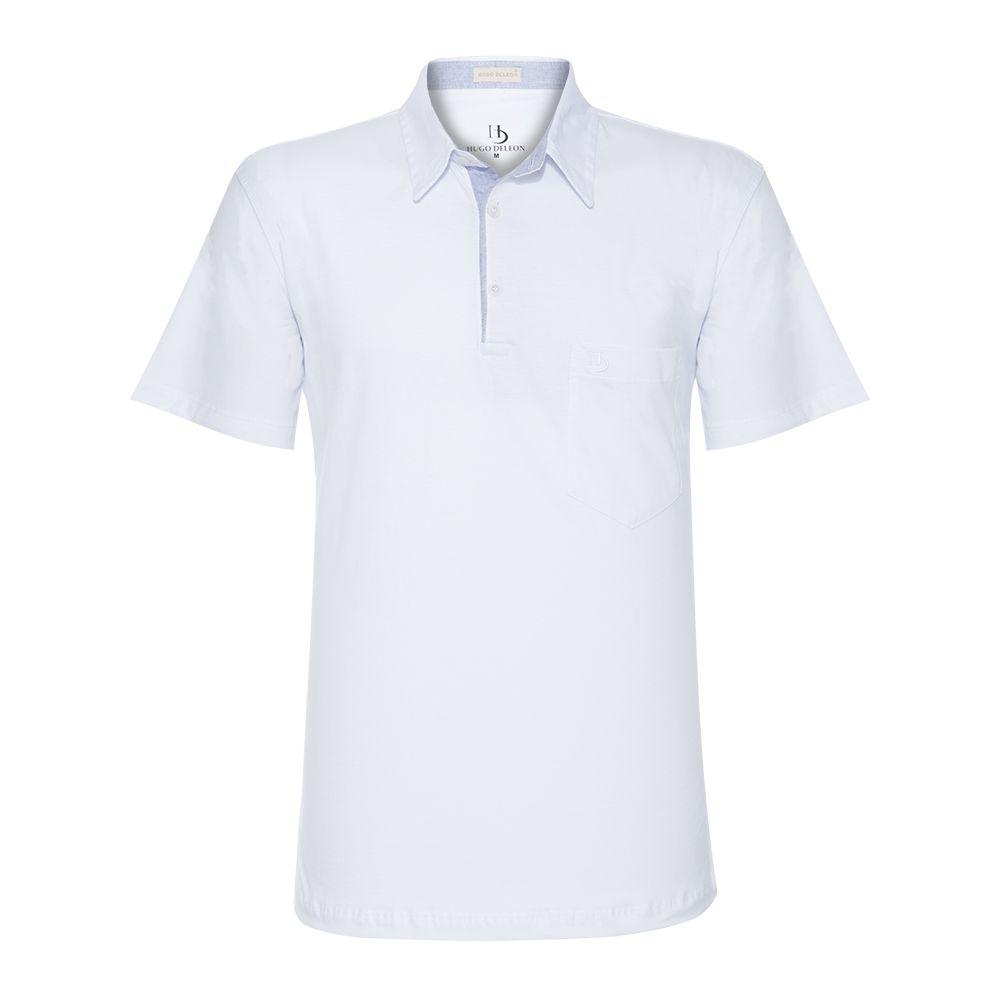 Camisa Polo Hugo Deleon Bolso Confort Sarja Branca