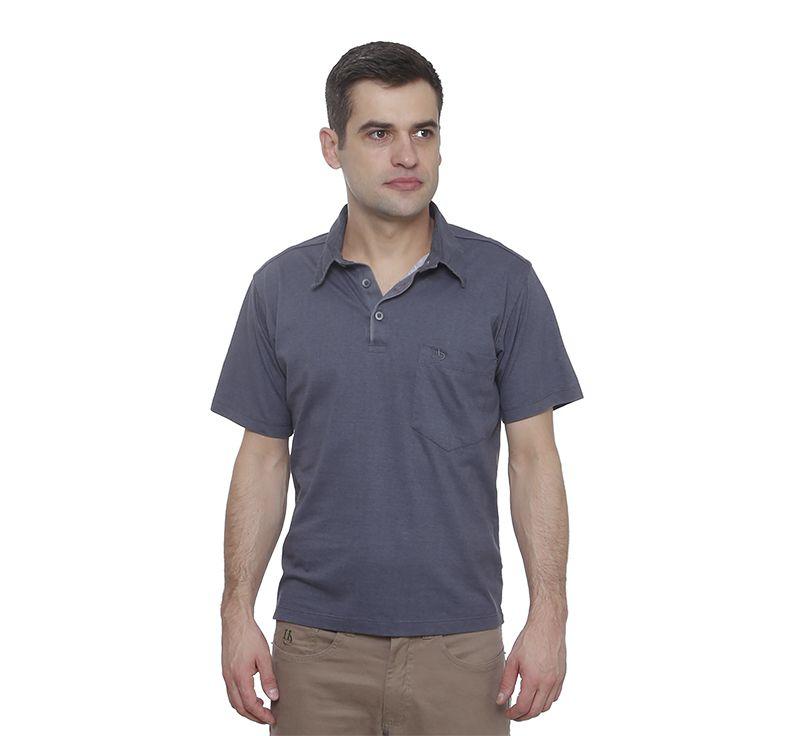 Camisa Polo Hugo Deleon Bolso Confort  Sarja Grafite