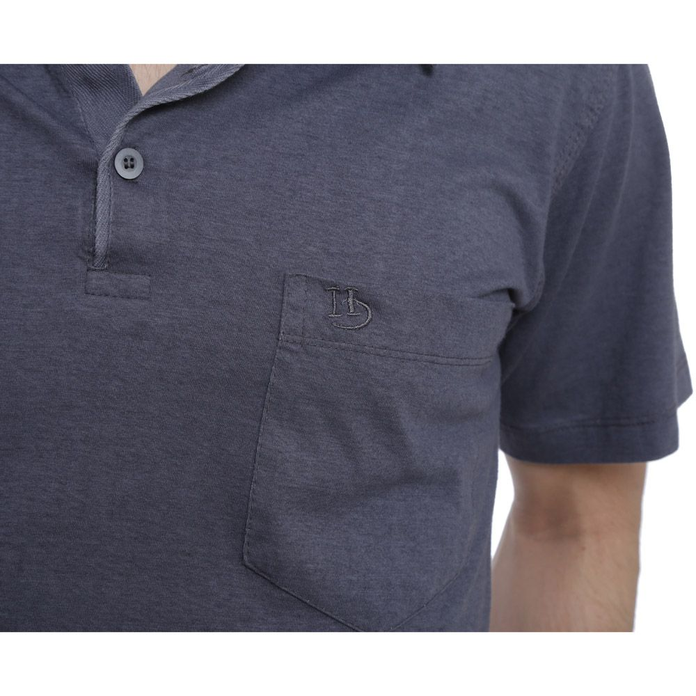 Camisa Polo Hugo Deleon lisa algodão malha grafite