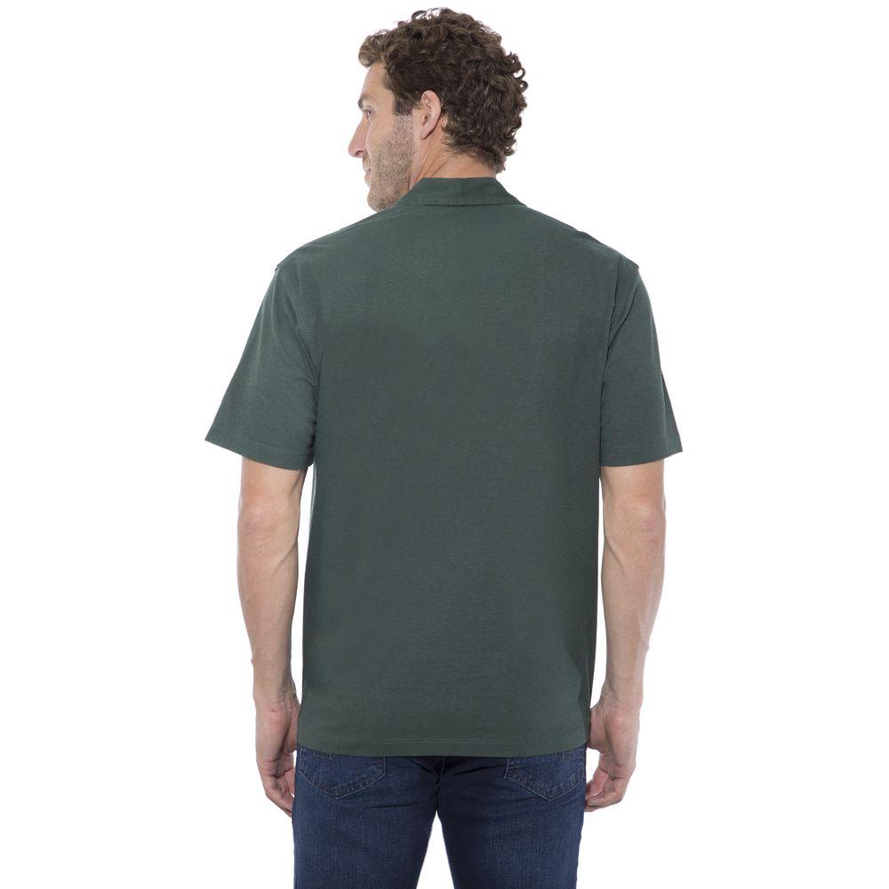 Camisa Polo Hugo Deleon lisa algodão malha verde militar