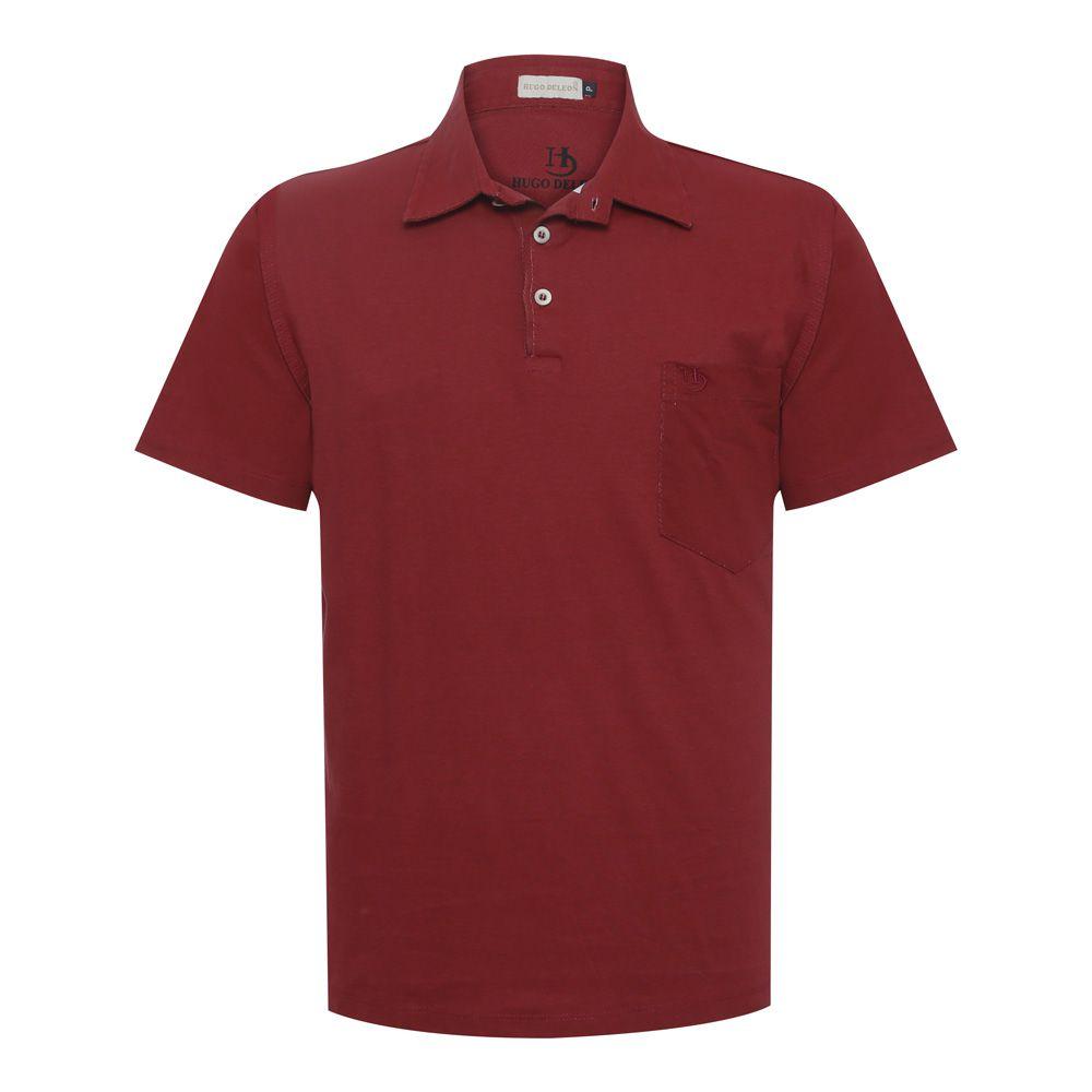 Camisa Polo Hugo Deleon lisa algodão malha vermelha