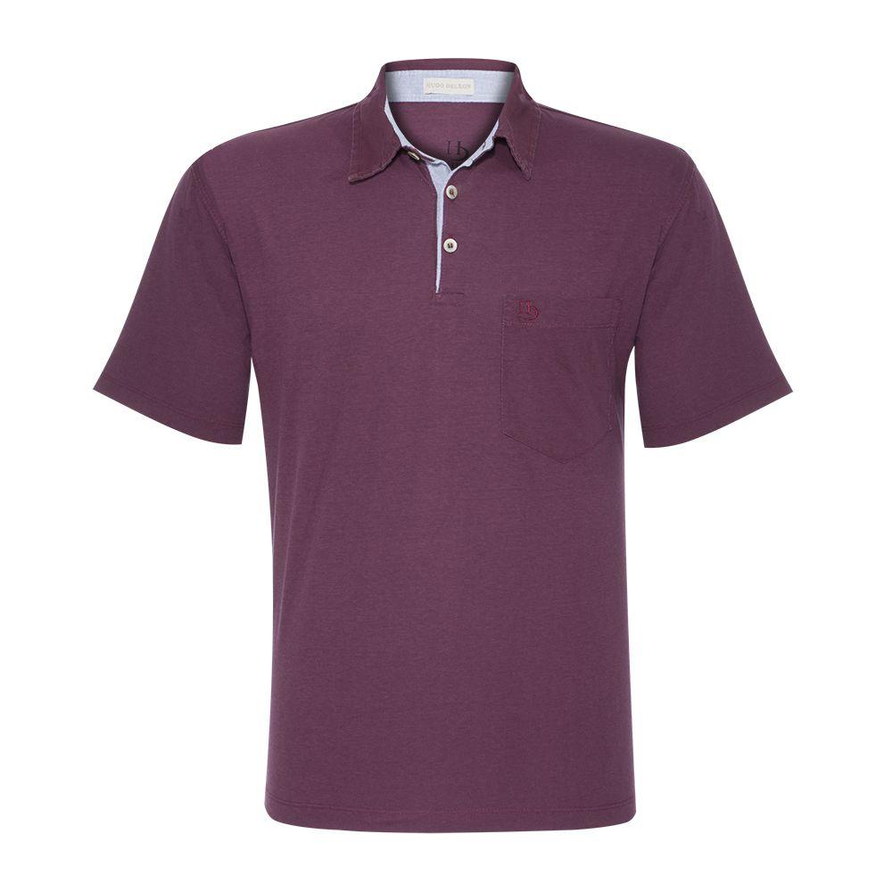 Camisa Polo Hugo Deleon Bolso Sarja Vinho