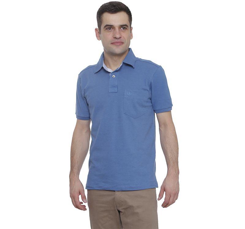 Camisa Polo Hugo Deleon lisa algodão piquet azul