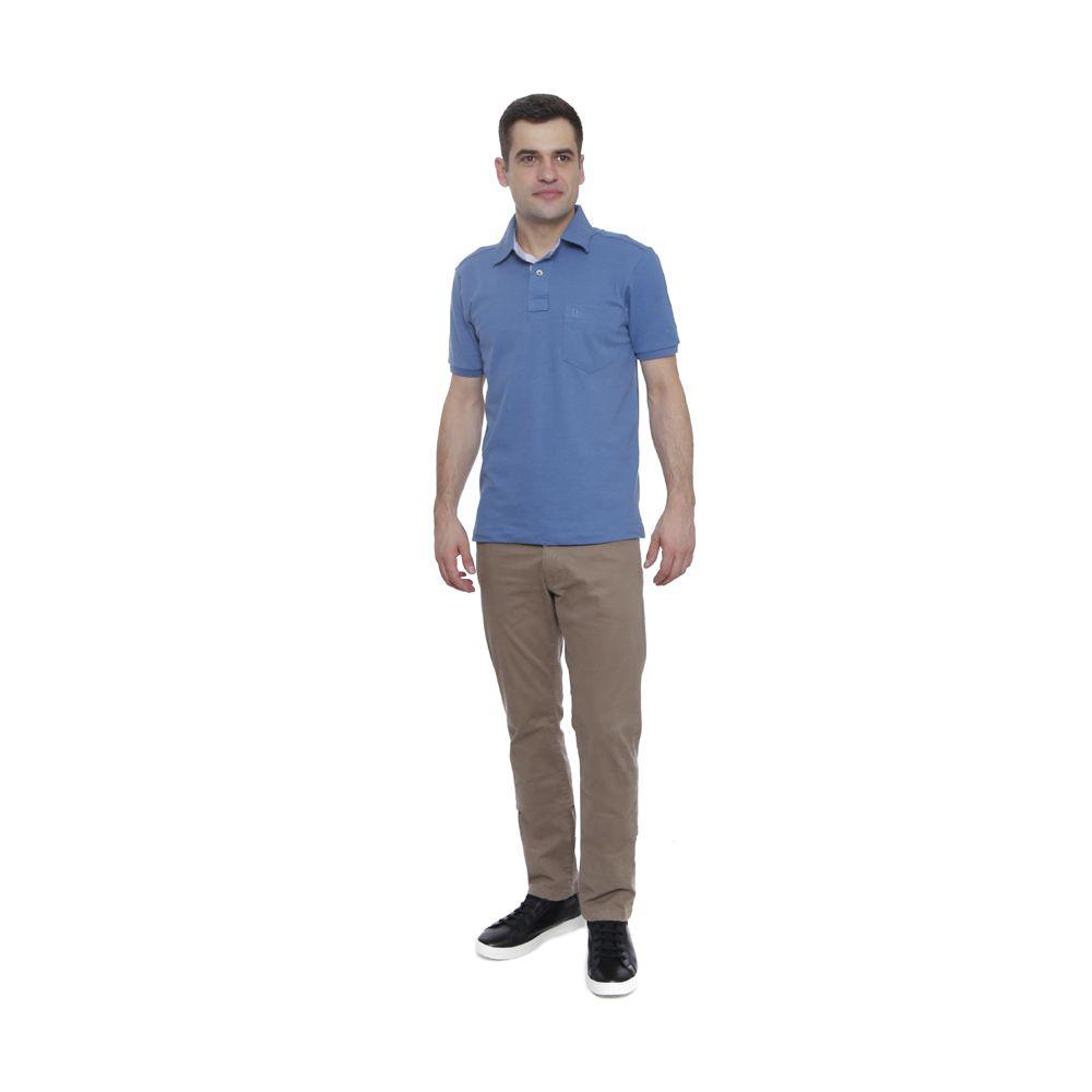 Camisa Polo Hugo Deleon Bolso Piquet Azul