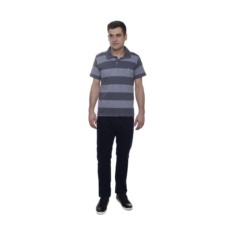 Camisa Polo Hugo Deleon listrada flame grafite