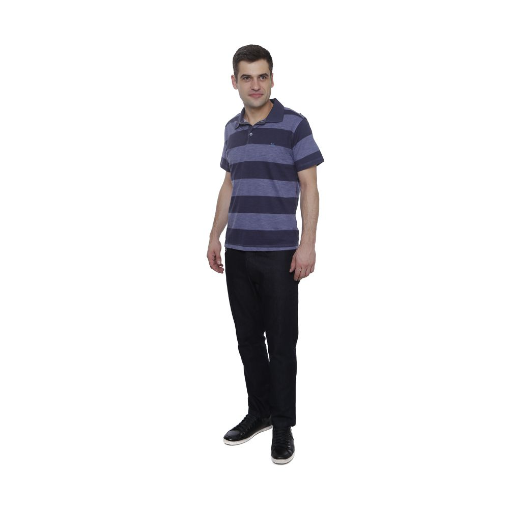 Camisa Polo Hugo Deleon listrada flame uva