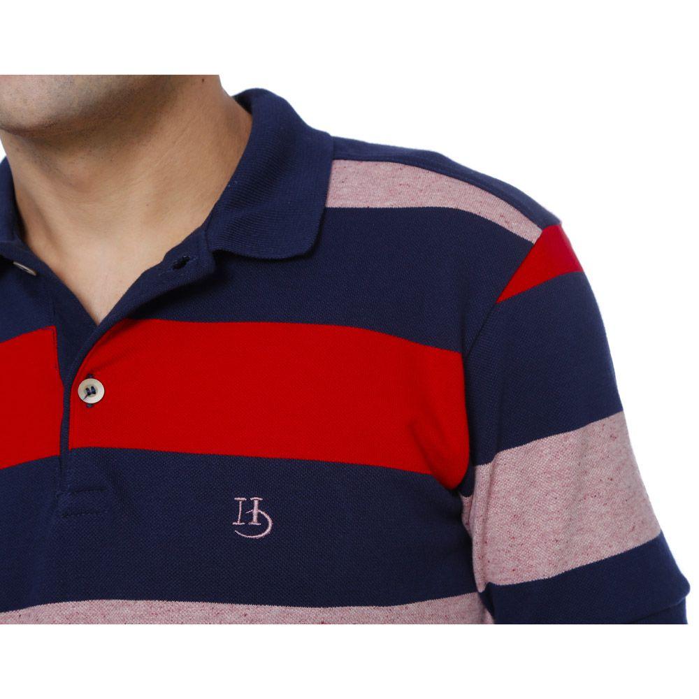 Camisa Polo Hugo Deleon Piquet Premium Listrada Azul