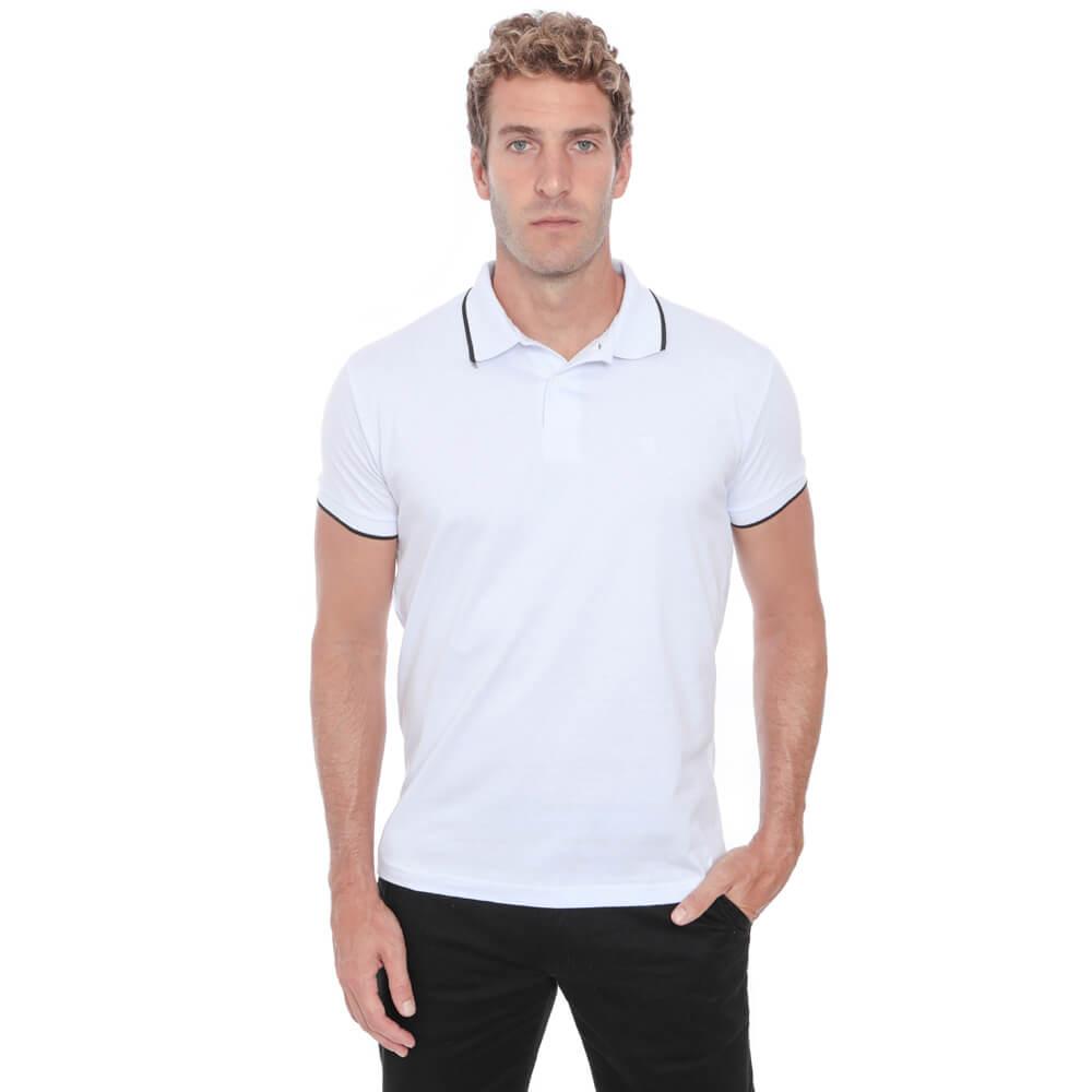 Camisa Polo Hugo Deleon Malha Lisa Branca