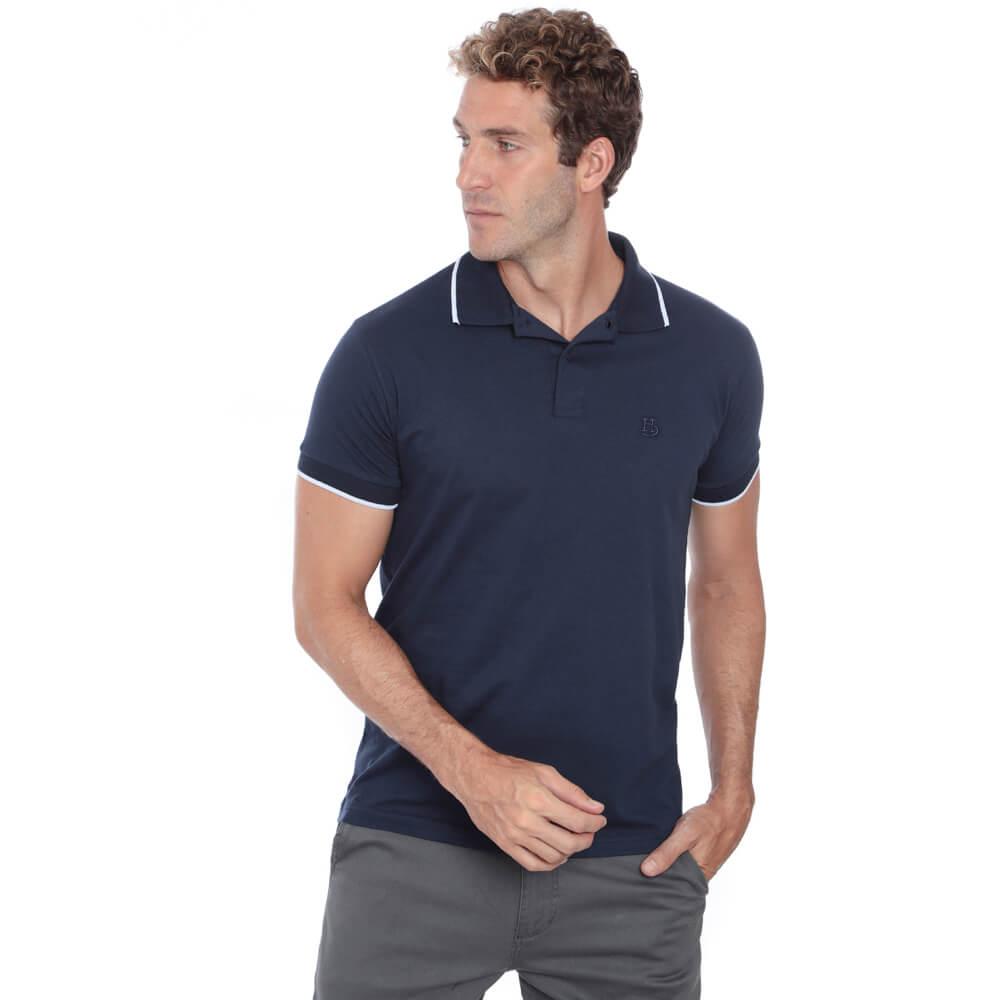 Camisa Polo Hugo Deleon Malha Lisa Marinho