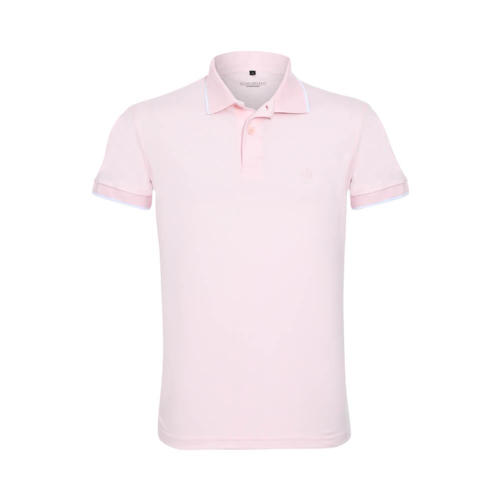 Camisa Polo Hugo Deleon Malha Lisa Rosa