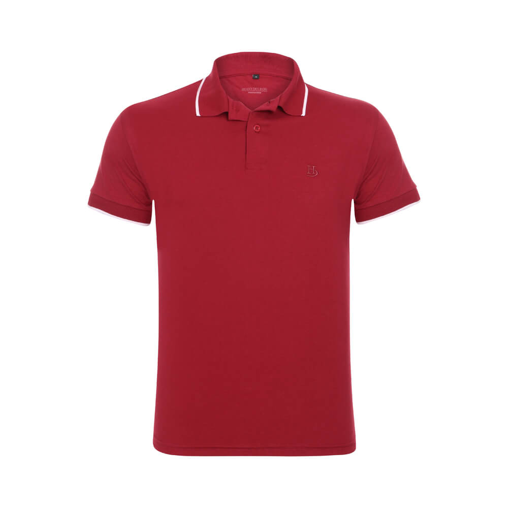 Camisa Polo Hugo Deleon Malha Lisa Vermelha