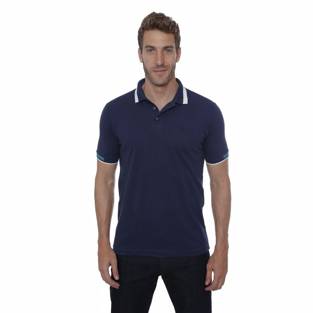 Camisa Polo Hugo Deleon Piquet azul marinho