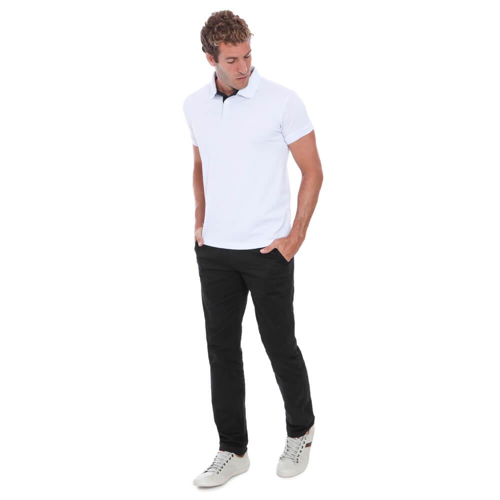 Camisa Polo Hugo Deleon Piquet Slim Fit Lisa Branca