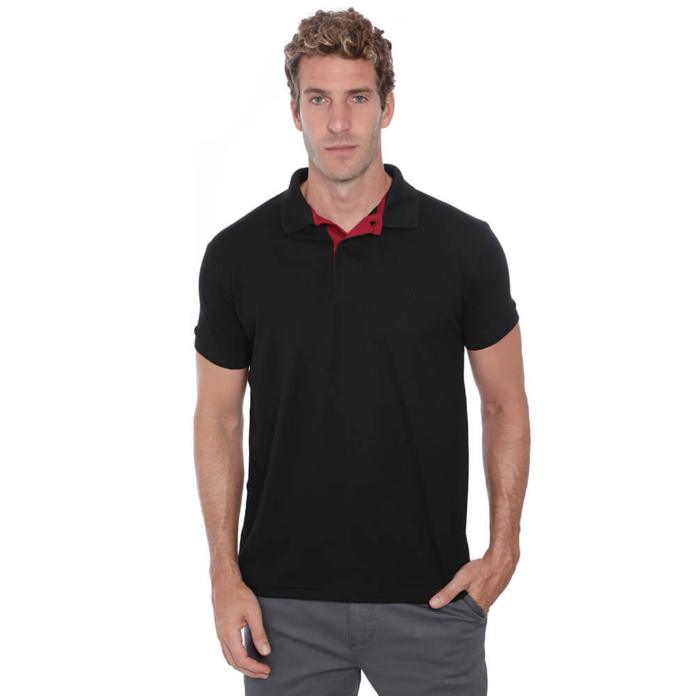 Camisa Polo Hugo Deleon Piquet Slim Fit Lisa Preto